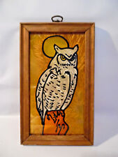 STAINED GLASS OWL PICTURE IN WOOD FRAME