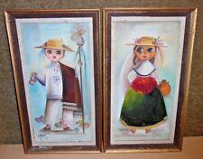 Two Framed 1973 Paintings - Big Eyes Boy & Girl - Medina