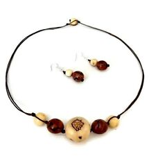 Tagua Nekclace and Earrings in Beige and Brown TAG639, Tagua Nut jewelry