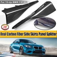 Fits For BMW F87 M2 2015 - 2018 Pair Carbon Fiber Side Skirts Panel Splitter  !