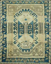 Muted Geometric Tribal Oushak Turkish Hand-Knotted Square Rug Distressed 2'x2'