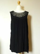 Boysen's Lace Neckline Crepe Sleeveless Vest Top Size 20 BNWT Black Uk Freepost