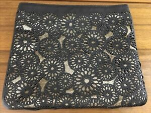 Sephora Make Up Bag Cosmetic Bag Black Gold Faux Leather Geometric Lace Cut Out