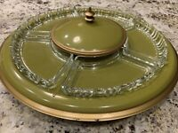 MidCentury Modern Retro Avocado Green Pagoda/Atomic Hors D'oeuvres Platter