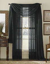 3pcs 1 scarf w/ 2 BLACK Voile Window Panel  Brand New curtains