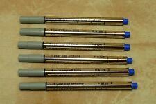 6- Schmidt P8126 Short Capless Rollerball Refills BLUE Fine