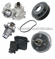 Water Pump + Pulley + Fan Clutch Thermostat Expansion Tank for BMW E65 E66 SET 6