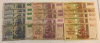 Zimbabwe Banknote Wholesale Lot. 5 X 100, 500, 1000 Dollars. Harare 2007.