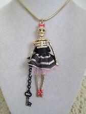 NWT Auth Betsey Johnson Prisoner of Love Skeleton Jailbird Long Pendant Necklace