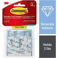 3M Command Medium Wire Toggle 6 Hooks With 8 Adhesive Strips, Value Pack, Clear