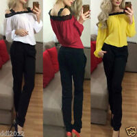 Sexy Women Off Shoulder Long Sleeve Shirt Lace Casual Blouse Loose Top T Shirt