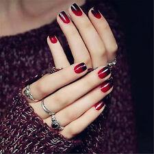 Gifts 24pcs Black & Red Short False Nails Full Artificial Fake Acrylic Nails