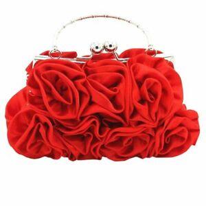 Girls Shoulder Bag Satin Rose Pure Color Wedding Women Handbags Evening New Lady