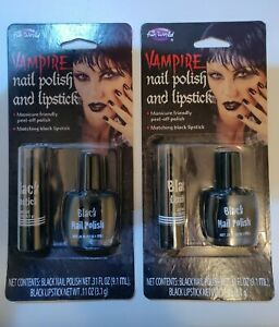2 Fun World Vampire Black Nail Polish & Lipstick Set Make-up Halloween Gothic