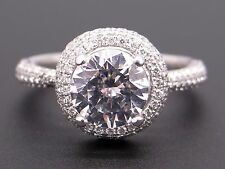 Scott Kay 14k White Gold Round Diamond Halo Engagement Promise Ring