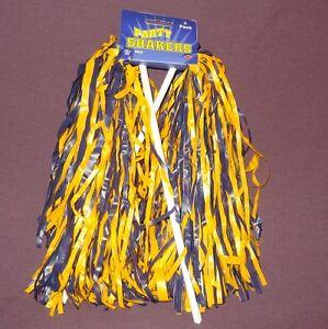New Beistle Football Cheerleader Party Shaker Pom Pom 2pc Blue Yellow