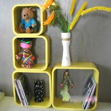 4PCS Large Wall Cubes Floating Shelves Storage Shelving Bookcase Shelf Yellow UK