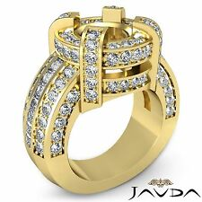 Round Semi Mount Diamond 2.9Ct Halo Pave Engagement Huge Ring 14k Yellow Gold