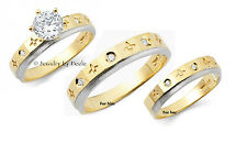 14k Solid Gold with Diamond Engagement Ring & Wedding Band Set For Him & Her