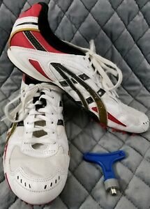 Asics Track Spikes Cleats GN010 Size US 10.5 White Red Gold Spikes and Tool