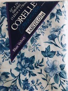 Corelle Coordinates BLUE VELVET Flannel BaCk Vinyl Tablecloth Oblong 52 x 70 IN
