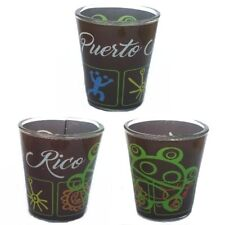 Lot Of 2 Shot Glass With Puerto Rico Taino Jeroglificos Design SOUVENIRS - Rican
