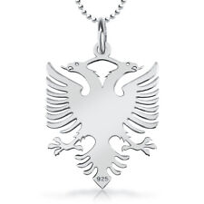 Albanian Eagle Necklace, Genuine Sterling Silver, with Chain, Albania