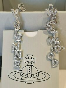 Vivienne Westwood silver tone crystal letter drop Earrings New with Box