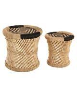 Lot de 2 tables basses gigognes en corde et bambou Noires