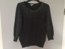 H&M Pullover Angora Wolle Strick Gr.S 36 grau dunkelgrau Strass Blogger trend