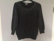 H&M Pullover Angora Wolle Strick Gr.S 36 grau dunkelgrau Strass Blogger trend