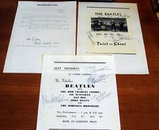 3 ITEMS OF REPRODUCED SIGNED BEATLES MEMORABILIA, PERSONAL LETTER & 2 CONCERTS.