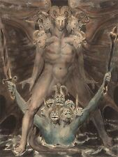 WILLIAM BLAKE BRITISH GREAT RED DRAGON BEAST SEA OLD ART PAINTING POSTER BB6512A