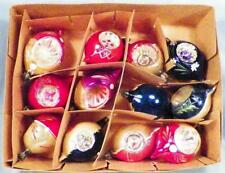 12 Vintage Indent Christmas Ornaments Mercury Glass Hand Paint Flowers Trees #9