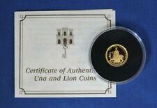 """1997 Gibraltar 1/25oz Gold Quarter Sovereign """"Una & The Lion"""" with COA   (AH6/1)"""
