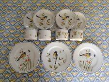 Fitz & Floyd Oiseau Birds Berries Plates Cups Saucers 12 Piece Lot Set