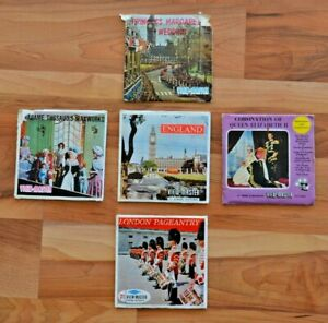 5 Viewmaster reel sets of England, 2 Royal weddings, Madame Tussaud's, Pageantry