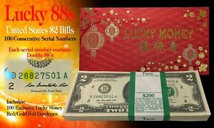 CNY Lucky Money $2 Bills BEP Pack of 100 Consecutive - All Double 88 Serial #'s