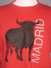Madrid Spain Running with the Bulls Adult Small Red T-Shirt (S Catalan Catalonia