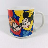 Vtg DISNEY Coffee Mug Cup Minnie Mickey Mouse Goofy Fab 5 Balloons Made In Korea