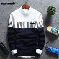 Men's Autumn Winter Pullover Wool Slim Fit Sweater Striped Casual Pull Homme