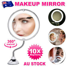 10X Magnifying Makeup Mirror With LED Light Cosmetic 360° Rotation Flexible New