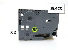 2 X 12 Mm x 8 M compatible con etiqueta de cintas para Brother P-Touch Negro sobre blanco TZe-231