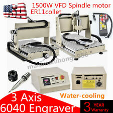 New Listing3axis Cnc 6040 Router Engraver Metal Milling Machine Water Cooling Vfdhandwheel