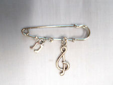 """2"""" PIN BROOCH w 3 CRYSTALS w TREBLE G CLEF DOUBLE MUSIC NOTE DANGLING CHARMS"""