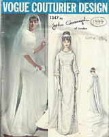 1964 Vintage VOGUE Sewing Pattern B36 WEDDING DRESS GOWN (1777) BY JOHN CAVANAGH