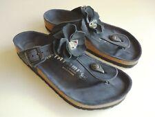 new TATAMI BIRKENSTOCK Leather Sandals GIZEH FLOWER CRYSTAL Black EU38 US7 UK5