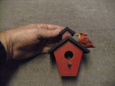 Rustic School House Novelty Birdhouse with Red Bird, See Pictures