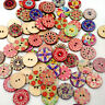 100pcs Wood Buttons 2 Holes Round Button Sewing Craft DIY Scrapbooking Accessory