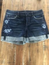 White House Black Market (WHBM) 5-INCH EMBROIDERED DENIM SHORTS, Size 2